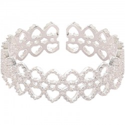 Mode luxe dentelle exquis creux amour coeur cadeau romantique ouvert argent bague pour femme