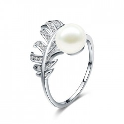 Unique Plume Girl's Ring Feather Pearl Open Silver Ring