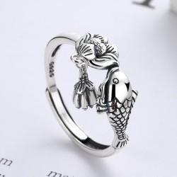 Rétro poisson baiser Lotus gland pendentif taille réglable anneau ouvert pour les femmes anneaux animaux