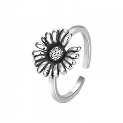 Rétro bague de tournesol Floral Boho anneaux mariée cadeaux de mariage marguerite promesse femmes argent bague ouverte