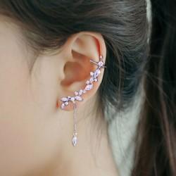 Pince à oreille pompon cristal mode argent feuilles asymétriques femmes boucles