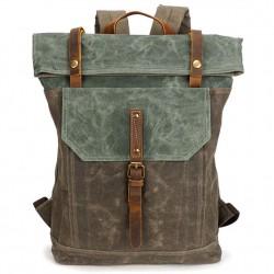 Unique Homme Rétro toile toile en cuir imperméable à l'eau à rabat carré sac à dos scolaire grand sac à dos de voyage