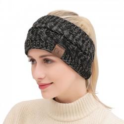 Mode Motley Twist doux épais laine bandeau tricot chaud hiver femmes bandeaux