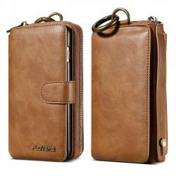 Pochette de sac à main multifonctions porte-monnaie à fermeture éclair Portefeuille Iphone Case en cuir PU