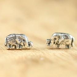 Boucles d'oreilles de style national bohème à la main éléphant mignon