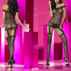 Sexy Voir Par Bateau Cou Une pièce Leopard Backless aux femmes Lingerie en maille