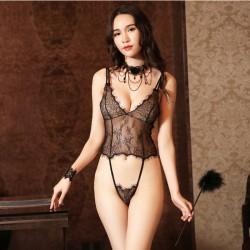 Pyjamas sexy en dentelle dos nu unisexe transparent souple femmes élingue lingerie intime