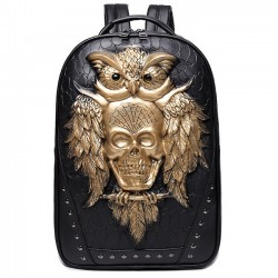 Punk PU 3D Crâne Hibou Rivets Grand Rivet Voyage Animal Sac à dos