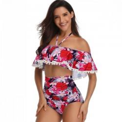Sexy Flower Sling Summer Swimsuit Leaves Printing Cross Collar High Waist Bikinis