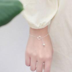 Mignon Chaton Tête Cloche Bracelet En Argent Amoureux Cadeau Accessoires Chat Gland Bracelet Femme