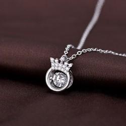 Couronne de collier en argent de couronne unique de couronne de petite amie cadeau collier en argent avec cristal de cristal creux