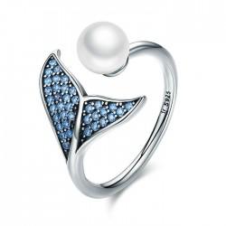 Cute Mermaid Tail Pearl Zircon Open Silver Ring