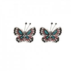Dame papillon fraîche boucles d'oreilles diamant mignon papillon animal boucles d'oreilles