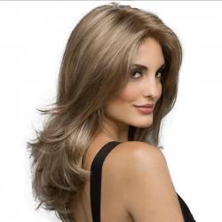 Perruque de cheveux bruns de nouvelle vague moyenne longue perruque de cheveux de dame