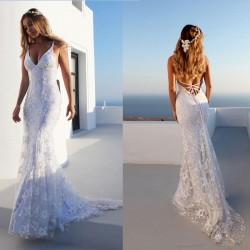 Élégante jupe longue sexy robe de mariée dos nu en dentelle robe de mariée sangle col en V Robe de fête
