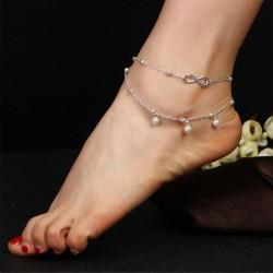 Mode Double Couche Perle Illimité Numéro 8 Bracelet De Cheville Accessoire Pied Bracelet De Cheville