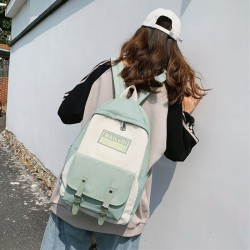 Sacs à dos d'école imperméables en nylon de sac d'étudiant de double boucle de couleur de contraste frais