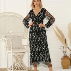 Fashion Sexy Black V-neck Long Sleeve Tassel Sequin Party Dress