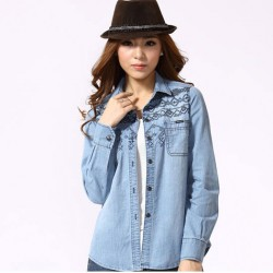 Fashion Blue Embroidered Long-sleeved Denim Shirt