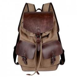 Rétro deux poches à l'extérieur en cuir Camping sac à dos en toile sac à dos de voyage en plein air grande capacité