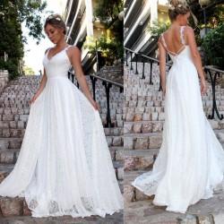 Élégante robe de demoiselle d'honneur en dentelle sans manches longue robe blanche robe de mariée col en V
