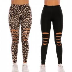 Mode noir imprimé léopard serré genou trou leggings taille haute élasticité yoga pantalon ado leggings
