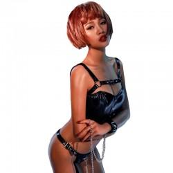 Sexy Noir Ensemble de jeu en cuir verni chaîne de cow-girl sauvage Body Lingerie Teddy Lingerie pour femmes