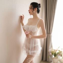 Sexy Fronde À pois Chemise de nuit Mesh Passion Pyjamas Lingerie en dentelle