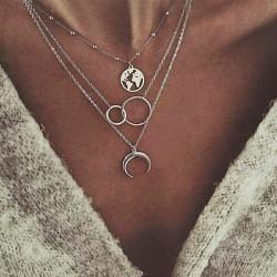 Rétro lune carte double anneaux métal multicouche clavicule collier femme