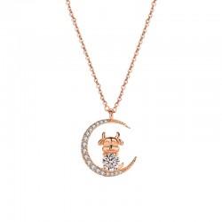 Mode strass lune étoiles vache animaux bovins pendentif or rose collier en argent