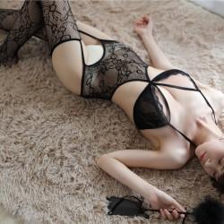 Pyjama une pièce Sexy Temptation Bas ouverts Résille Creux Noir Lingerie Femme