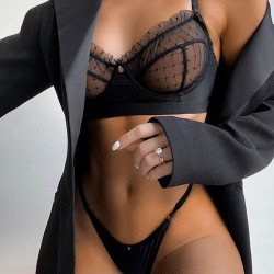 Sexy dentelle maille perspective soutien-gorge ensembles Sling sous-vêtements lingerie intime pour femmes