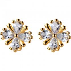 Mignon petit cristal à quatre feuilles fleur douce vis fille bijoux pour elle argent boucles d'oreilles pour femmes goujons