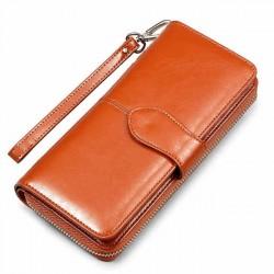 Portefeuille rétro multi-fonction en cuir PU simple téléphone cas sac à main sac à main