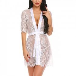 Robe de nuit sexy chemise de nuit pyjama manche moyenne Deep V Lace Femmes Lingerie