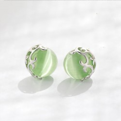 Unique Green Opal Cat Eyes Hollow Pattern Silver Earrings Studs