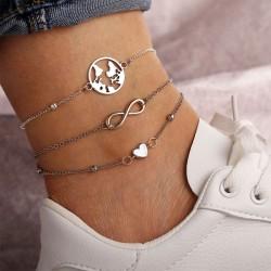 Créatif Carte de la mode Coeur d'amour Chanceux Bracelet de cheville Accessoire de pied Bracelet de cheville