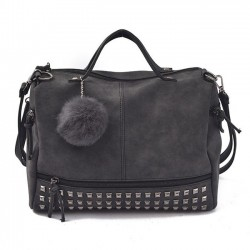Retro Frosted Rivet Multi-function Handbag Punk Shoulder Bag