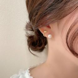 Boucles d'oreilles rétro uniques en forme de perle en métal pour femmes clous d'oreilles en argent sterling plaqué or 18 carats