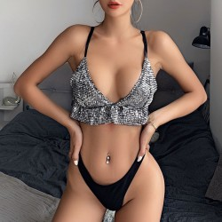 Sexy Wrapped Chest Bra Summer Sling Sequins Vest Lingerie