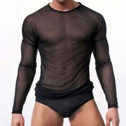 Sexy Slim Man Transparent Round Neck Mesh Long Sleeve Men's Lingerie