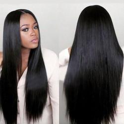 Perruque de cheveux longs et droits séparés à la mode pour femmes