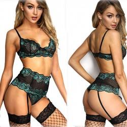 Sexy nouvelle dentelle chaude creuse taille haute soutien-gorge ensemble sous-vêtements lingerie féminine intime