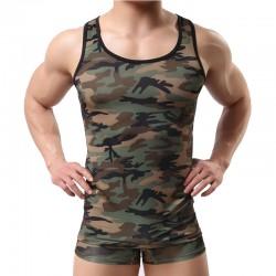 Cool camouflage gilet soldat Cosplay Lingerie pour hommes pantalons courts débardeurs ensembles Lingerie
