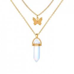 Collier pour femme à double couche avec pendentif papillon en pierre de cristal rétro