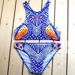 Maillot de bain fendu en bikini à imprimé imprimé paon Unique Soul Love