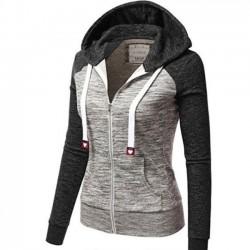 Loisirs à capuche rayures cordon de contraste de couleur contraste manches longues tops femmes manteau