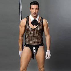 Sexy Butler Appeal Sous-vêtements Pêche Net Perspective Discothèque Bar Serveur Homme Lingerie Conjointe