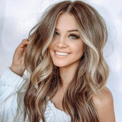 Perruque de cheveux à la mode brune grande ondulée longues femmes bouclées