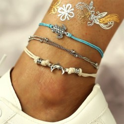 Retro Tortoise Dolphin Weaving Alloy 3 Piece Set Anklet